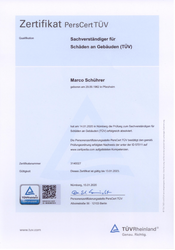 TÜV Zertifikate Modul 1 bis 11
